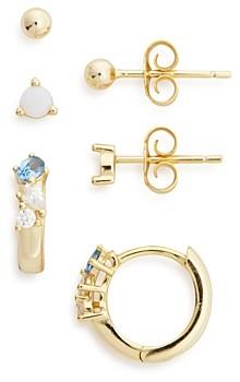 Argentovivo Cubic Zirconia & Stone Stud & Huggie Hoop Earrings, Set of 3