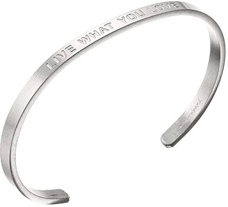 MantraBand Live What You Love (Bold) Cuff (Matte Silver) Bracelet