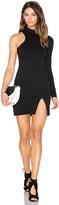 Donna Mizani One Sleeve Mock Neck Mini Dress