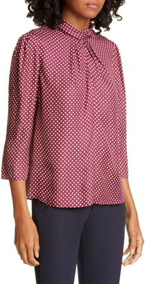 Tailored by Rebecca Taylor Deco Dot Silk Blend Blouse