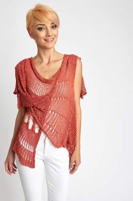 B&K Moda Crochet Red Vest