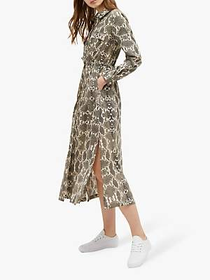 French Connection Snake Print Midi Shirt Dress, Cream Snake