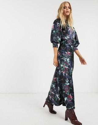 Asos DESIGN satin high neck maxi dress with cowl back in rose floral print