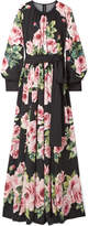 Dolce & Gabbana Floral-print Silk-blend Charmeuse Gown - Black