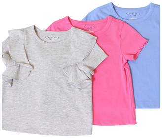 Kinderkind Toddler, Little, and Big Girls 3-Pack Solid Short-Sleeve Tee Shirts