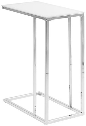 Monarch Specialties Inc. Metal Accent Table With Drawer, Top: Frosted Glass, Base: Chrome