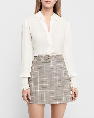 Express High Waisted Plaid A-Line Mini Skirt