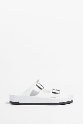 Nasty Gal Womens On Your Slide Buckle Footbed Sandals - White - 5, White