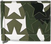 Valentino star applique camouflage money clip cardholder