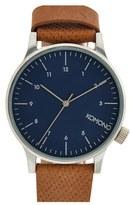 Komono 'Winston' Round Dial Leather Strap Watch, 41mm