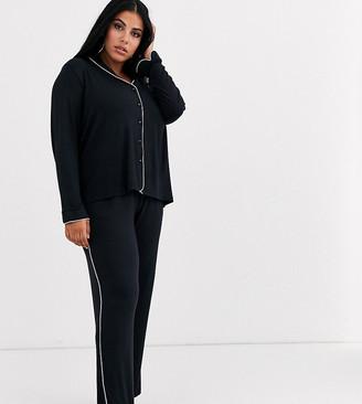 Figleaves Curve modal revere pyjama set in black