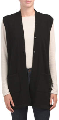 Cashmere Open Vest With Faux Fur Collar