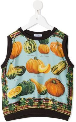 Dolce & Gabbana Kids Pumpkin-Print Knitted Vest
