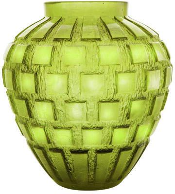 Daum Olive-Green Rhythms Vase