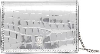 Burberry Jessie Croc Embossed Metallic Leather Card Case