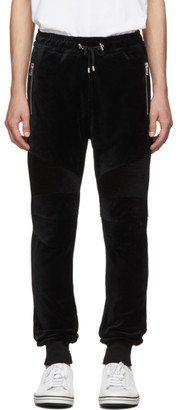 Balmain Black Velvet Ribbed Lounge Pants