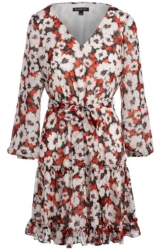 INC International Concepts Inc Belted Floral-Print Fit & Flare Dress, Created for Macy's
