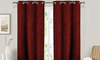 BLACKOUT365 Velvet Blackout Darkening Window Curtain Set of 2 Panels, Red, 37 X 84
