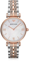 Emporio Armani White Mother-of-Pearl Dial Stainless Steel and Rose Gold-tone Women's Watch