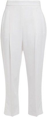 Emilio Pucci Cropped Pleated Crepe Tapered Pants