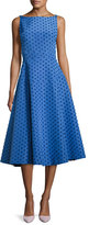 Lela Rose Dot-Embroidered Boat-Neck Dress, Blue