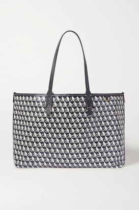 Anya Hindmarch + Net Sustain I Am A Plastic Bag Small Leather-trimmed Printed Coated-canvas Tote - Navy
