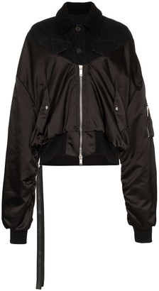 Unravel Project Zip Up Cotton and Shearling Bomber Jacket