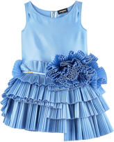 DSQUARED2 Silk dress with pleated flounces