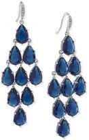 Carolee Silver-Tone Blue Stone Chandelier Earrings