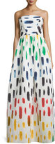 Milly Strapless Brushstroke-Print Ball Gown, Multi Colors