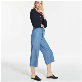 Joe Fresh Women's Tied Denim Pants, Medium Wash (Size 8)