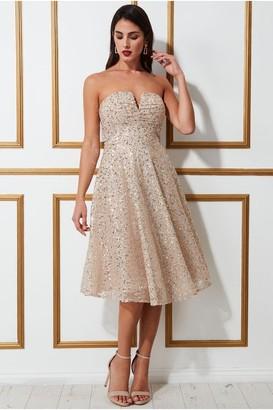 Goddiva Boobtube Sequin Midi Dress - Champagne