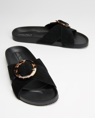 Walnut Melbourne Women's Black Flat Sandals - Penny Suede Slides - Size 37 at The Iconic