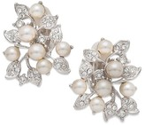 Nina Women's Imitation Pearl & Crystal Clip Earrings