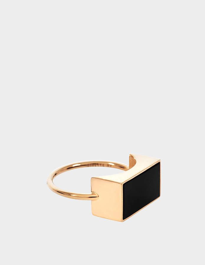 ginette_ny Ever Onyx Rectangle 18-karat rose gold ring