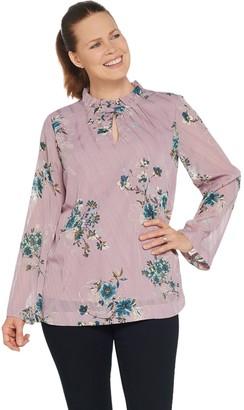 Du Jour Long Sleeve Floral Printed Clip Dot Woven Top