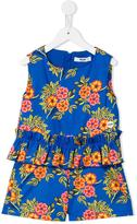MSGM floral print playsuit - kids - Cotton/Spandex/Elastane - 8 yrs