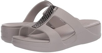 Crocs Monterey Metallic Slip-On Wedge (Silver/Platinum) Women's Wedge Shoes