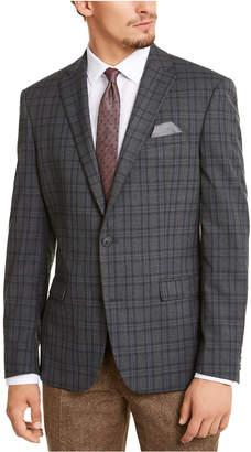Bar III Men Slim-Fit Stretch Gray Plaid Sport Coat