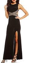 Blondie Nites Illusion Beaded Waist Open Back Long Dress