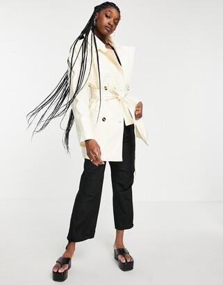Weekday Janis short trench coat in cream patent