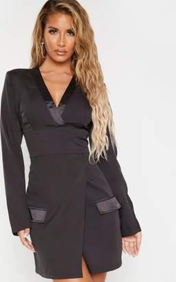 PrettyLittleThing Black Shoulder Pad Satin Insert Blazer Dress