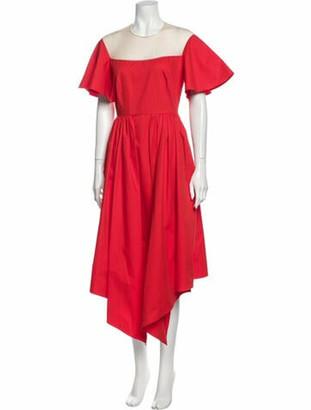 DELPOZO Crew Neck Long Dress Red