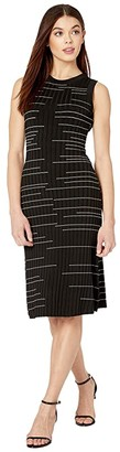 Milly Striped Fit and Flow Dress (Black/White) Women's Clothing