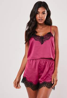 Missguided Raspberry Satin Lace Trim Shorts And Cami Pyjama Set