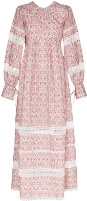Masterpeace Lace-Trimmed Floral-Print Dress