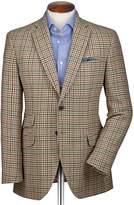 Charles Tyrwhitt Slim Fit Beige Checkered Luxury Border Tweed Wool Jacket Size 36