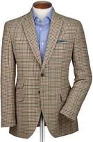 Charles Tyrwhitt Slim Fit Beige Checkered Luxury Border Tweed Wool Jacket Size 40