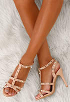 Pink Boutique Party Ready Nude Patent Studded Strappy Heels