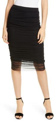 Fuzzi Ruched Mesh Skirt